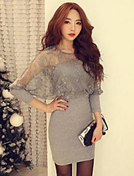 Women's Sexy/Bodycon Stretchy ½ Length Sleeve Above Knee Dress (Lace/Knitwear)