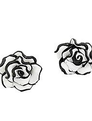 Sweet Black And White Rose Flower Stud Earrings