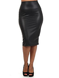 Women's Solid Color Black Skirts , Vintage / Sexy / Bodycon / Casual / Cute / Work Mid Rise Knee-length