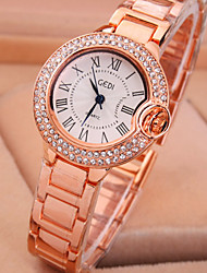 Ladies' New Fashion Roman Scale Diamond Round Dial Exquisite Luxury Quartz Bangle Watch (Random Color)