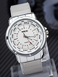 Men's Wristwatches Silver band Man's Quartz watches with 2 colors Black and white Women Casual Watches.