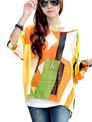 Women Round Neck Batwing Sleeve Semi Sheer Blouses Tops Clothes