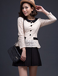 Women's Lace Blouse , Peter Pan Collar Long Sleeve Pocket/Button/Lace/Pleated