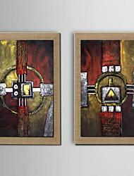olieverf decoratie abstracte hand beschilderd doek met gestrekte frame - set van 2