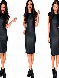 Women's Club Solid Bodycon Dress,Round Neck Knee-length PU