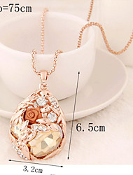Fashion temperament of grain pendant drop stones the roses long necklace