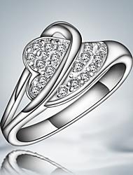 venda da promoção S925 prateado partido coração projeto do anel de moda finos acessórios