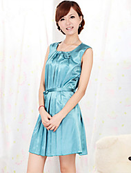 WEST BIKING® Women's Elegant Minidress Young Ladies' Blue Flower Bud Nightie Sleeveless With Belt Sleepwear