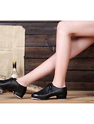 Non Customizable Women's Dance Shoes Tap Patent Leather Chunky Heel Black