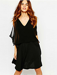 TS Women's Sexy Simplicity Micro-elastic V Neck Backless Off The Shoulder Knee-length Dress(Chiffon)