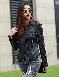 Women's Solid Blue/Black Jackets , Casual Shirt Collar Long Sleeve