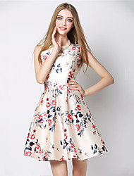 Women's Vintage/Casual/Print/Cute/Work Elegent Sleeveless Above Knee Dress (Polyester)