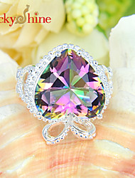 Lucky Shine Women's Men's Unisex Silver Sweet Heart Fire Rainbow Mystic Topaz Crystal Gemstone Wedding Rings