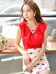 Mulheres Camisa Decote Redondo Elastano/Poliéster Mulheres