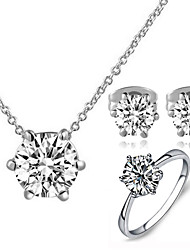 T&C Women's Classic 18K White Gold Plated with 6 Prongs Simulated Diamond Stone Pendant Necklace Earrings Ring Set
