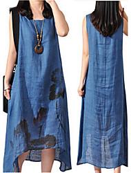 Vestidos ( Algodón/Lino )- Casual Redondo Sin Mangas para Mujer