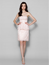 Knee-length Lace Bridesmaid Dress - Pearl Pink Plus Sizes / Petite Sheath/Column Sweetheart