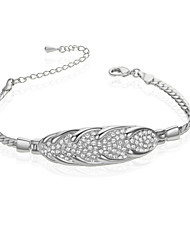 T&C Women's Chain Bracelets 18K White Gold Plated Woven Shape Simulated Diamond Bracelets Wedding Jewelry