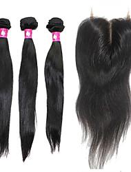cheveux brésilienne vierge droite forawme 3 pièces avec 1 pc faisceaux de cheveux fermeture de la base de dentelle de cheveux humains # 1b