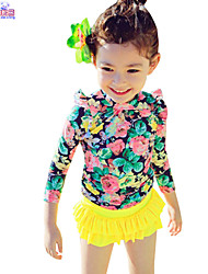 Children Kids Child Baby Girls Long Sleeves 3 Pcs Printing Sunscreen Swimsuit Clothes