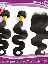 """16"""" Hair Weft/16"""" Hair Weft/14"""" 4*4 Free Part Top Closure Virgin Brazilian Remy Natrual Color Body Wave 100% Human Hair"""