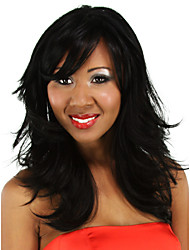 noir longue perruque bouclée pour les femmes
