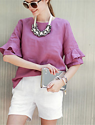 Women's Solid Pink Blouse , Round Neck ½ Length Sleeve