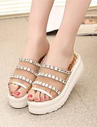 Sandálias ( Borracha , Dourado/Prateado ) Sapatos de Senhora - Salto Plataforma - 3-6cm