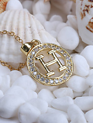 Alloy Jewelry Simple Generous H Letter Circle Gift Box Chain Pendant Necklace