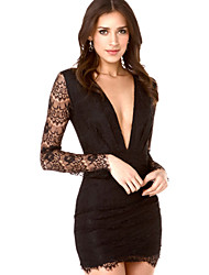 Women's Sexy Bodycon Casual Lace Party Plus Sizes Micro-elastic Long Sleeve Above Knee Dress (Lace)