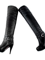 Calçados Femininos - Botas - Arrendondado - Salto Agulha - Preto / Marrom - Courino - Social