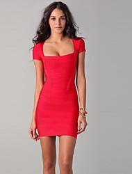Cocktail Party Dress - Ruby Petite Sheath/Column Square / Sweetheart Short/Mini Spandex / Rayon / Nylon Taffeta