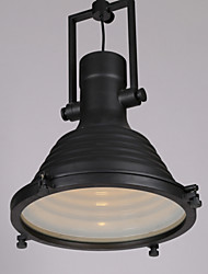 Loft Amercian Countryside Industrial Style Dinning Room Pendant Lamp For Single Black Round Shape Indoor Lights