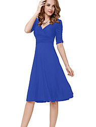 Women's Vintage Fashion Slim V Neck Solid Color Long Sleeve Dress