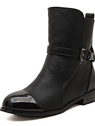 Women's Shoes Faux Leather Chunky Heel Fashion Boots Boots Casual Black