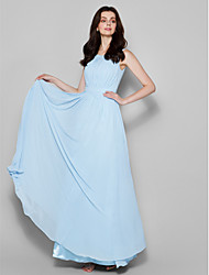 Lanting Floor-length Chiffon Bridesmaid Dress - Sky Blue Plus Sizes / Petite Sheath/Column Scoop