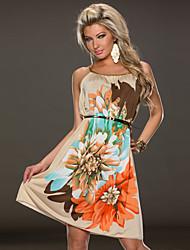 Multi Flowers Ladies Fashion Dress With belt summer dress 2015 beach wear fashion women clothing print dresses