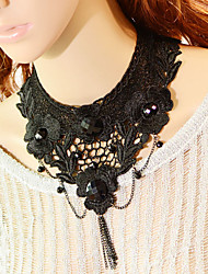 Vintage Arrogance Black Flower Necklace