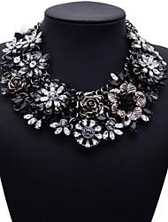 bijoux jq grand nom chunky fleur noir collier tour de cou