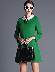 Winter Women's Vintage Bowknot Large Plus Size Long Sleeve Casual/Party/Work/Dresses