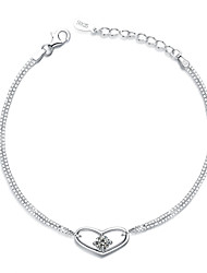 Jazlyn Authentic Platinum Plated 925 Sterling Silver Woman Heart Cubic Zirconia Link Chain Bracelet  Lobster Clasp