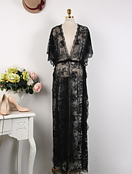 Women's Sexy / Lace Solid / Patchwork / Lace Loose Dress , Round Neck / Deep V Maxi Lace