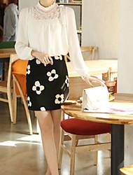 Women's Solid White Blouse , Shirt Collar Long Sleeve Mesh