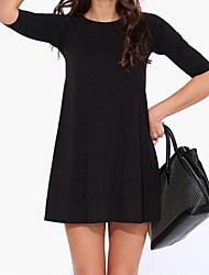 Women's Sexy Casual Cute Plus Sizes Micro Elastic ½ Length Sleeve Above Knee Dress (Cotton)
