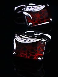 Toonykelly® Fashion Silver Plated Square Crystal Rhinestone Handsome Shirt Cufflink(1 Pair)