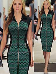 Luoluo Women's Print Tailored Collar Sleeveless Dresses (Cotton Blend)