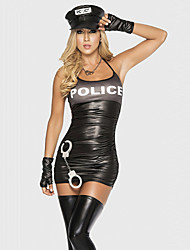 Seductive Female Sexy Police Uniform Costumes Party Police Career Costumes  Halloween Costumes Black Dress  Black Bandage Gloves Hat