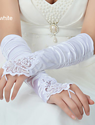 Wrist Length Fingerless Glove Elastic Satin Winter Gloves/Bridal Gloves/Party/ Evening Gloves