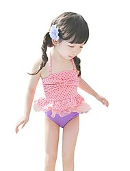 Children Swimming Clothing Polka Dot Baby Girls Swimsuit Beach Swimwear (Nylon)