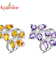 Lucky Shine Women's Men's Unisex Silver Special Rings With Gemstone Fire Drop Brazil Citrine Amethyst Crystal Gift